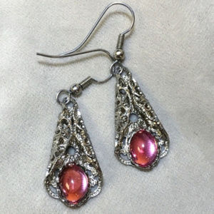 Jewelry - Vintage Silver filigree & pink cabochon earrings